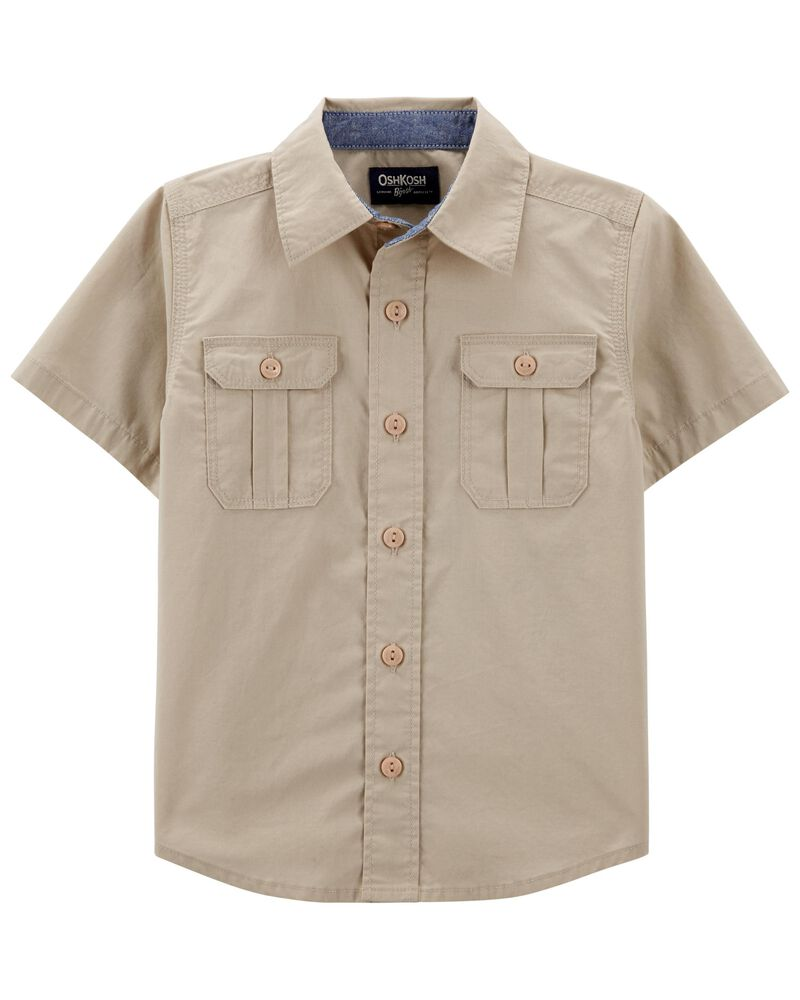Button-Front Safari Shirt, , hi-res