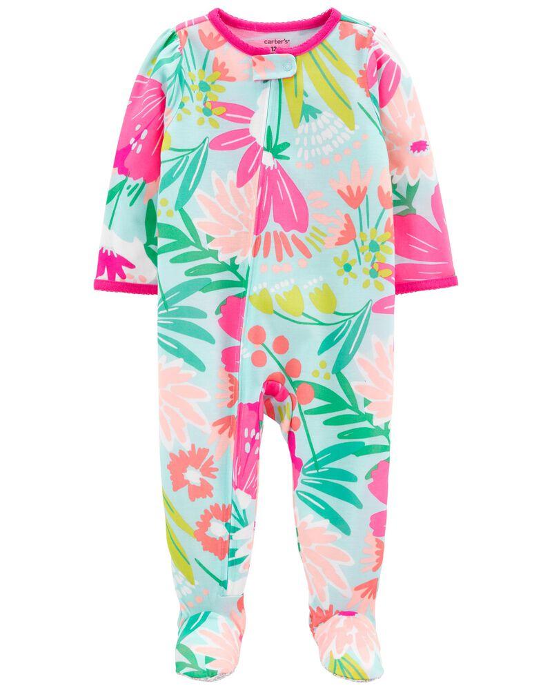 1-Piece Floral Loose Fit Footie PJs, , hi-res