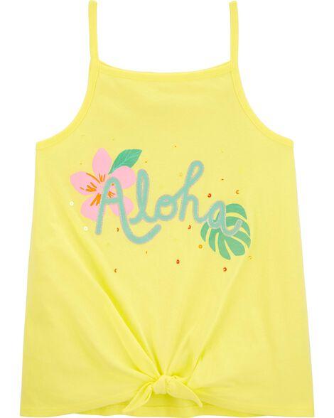 Débardeur fleuri à nœud devant Aloha