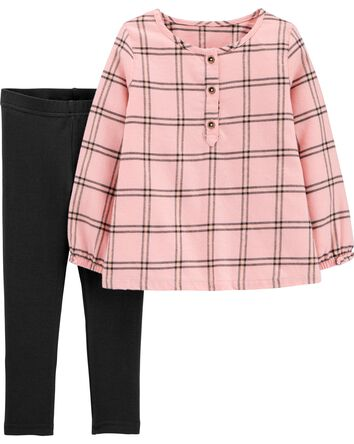 2-Piece Plaid Flannel Top & Legging...
