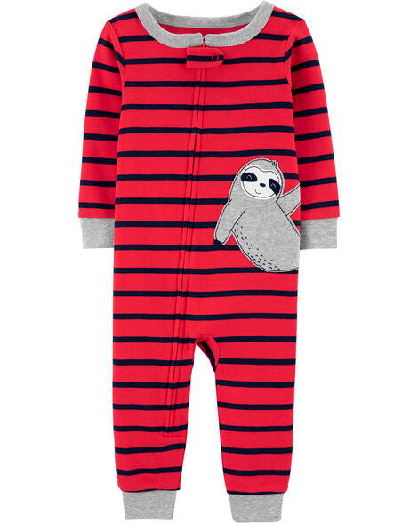 1-Piece Sloth Snug Fit Cotton Footless PJs