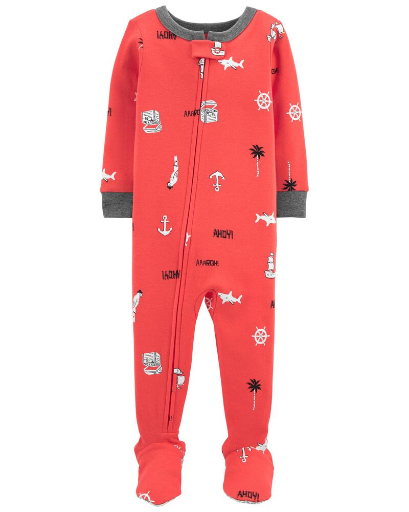 1-Piece Nautical 100% Snug Fit Cotton Footie PJs, , hi-res