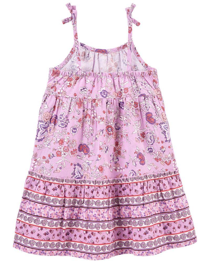 Paisley Floral Linen Dress, , hi-res