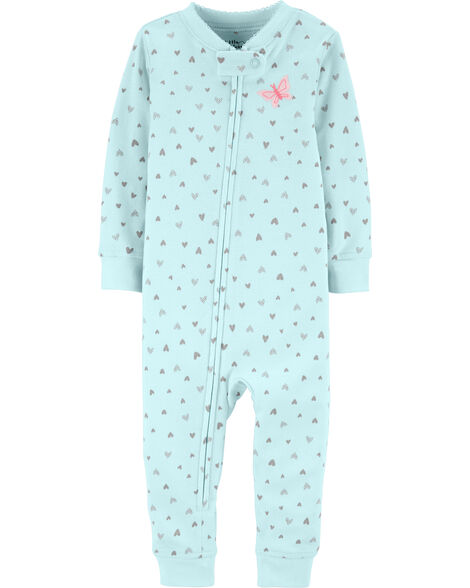 1-Piece Certified Organic Snug Fit Cotton Footless PJs