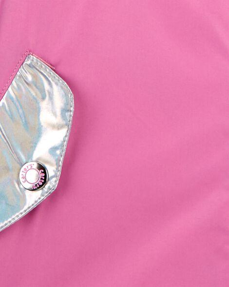 Holographic Butterfly Fleece-Lined Rain Jacket
