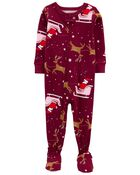 Pyjama 1 pièce à pieds en coton ajusté à renne, , hi-res
