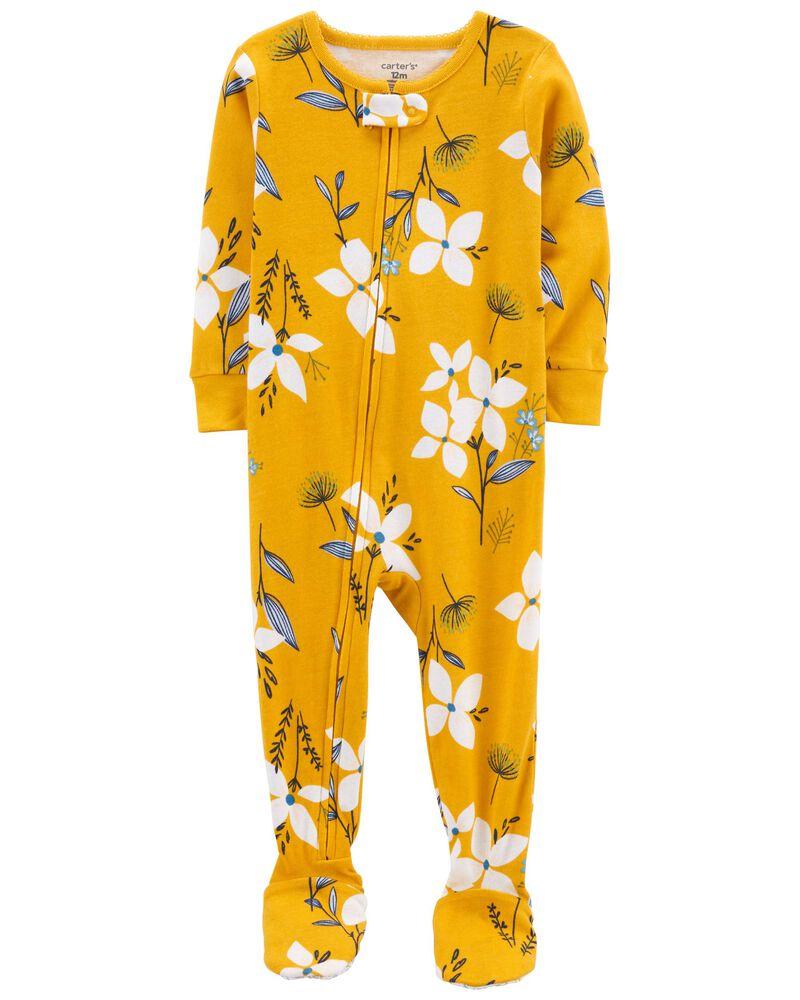 Pyjama 1 pièce à pieds en coton ajusté à motif fleuri, , hi-res