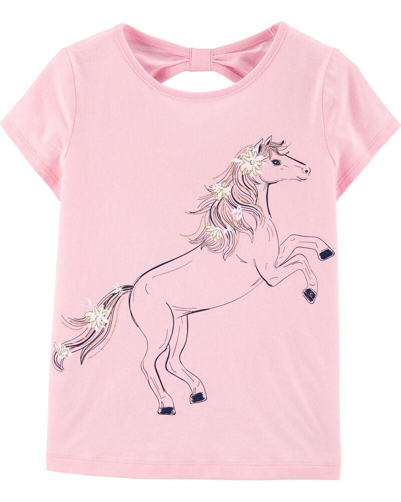 Glitter Unicorn Bow Back Jersey Tee, , hi-res