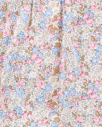 Haut en popeline à plis et fleurs