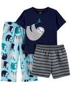 3-Piece Sloth Loose Fit PJs, , hi-res