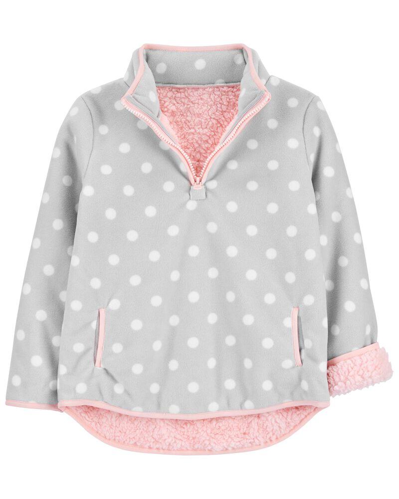 Polka Dot Fleece Pullover, , hi-res