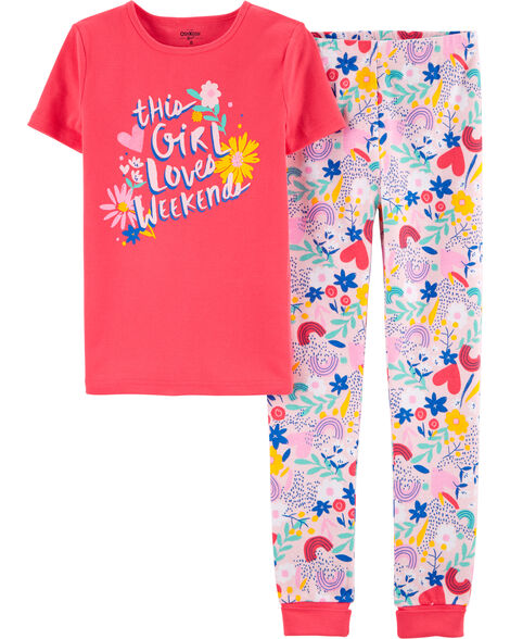 2-Piece Snug Fit Weekend Love Cotton PJs