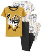 4-Piece Lion 100% Snug Fit Cotton PJs, , hi-res