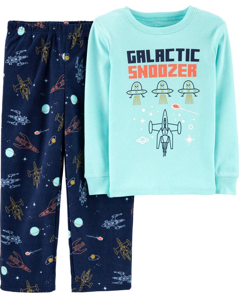 Pyjama 2 pièces en coton et molleton ajusté espace, , hi-res
