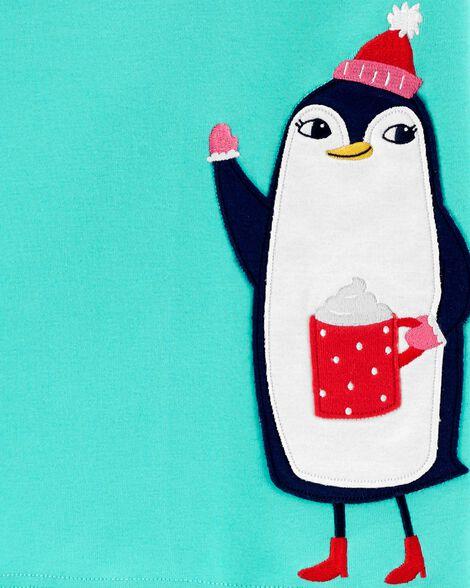 Pyjamas 4 pièces en coton ajusté avec pingouin