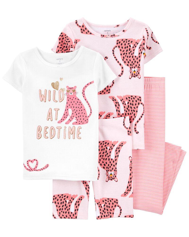 4-Piece Leopard 100% Snug Fit Cotton PJs, , hi-res