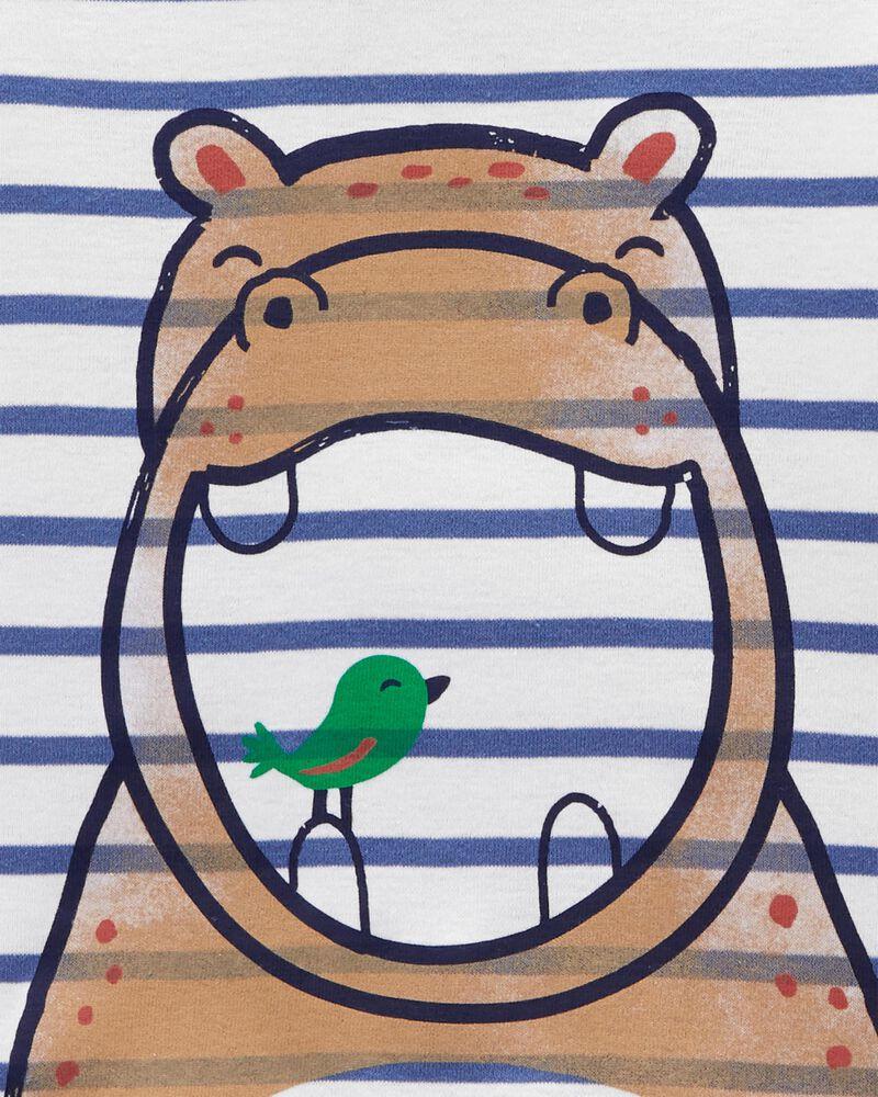 Pyjama 4 pièces en coton ajusté à hippopotame, , hi-res