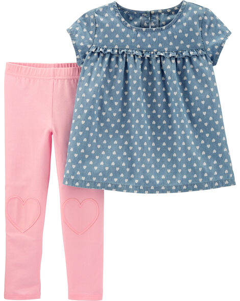 2-Piece Heart Chambray Top & Legging Set