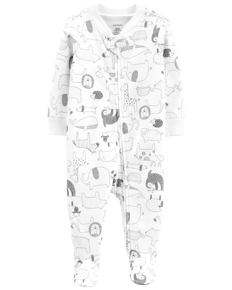 Zoo 2-Way Zip Cotton Sleep & Play, , hi-res