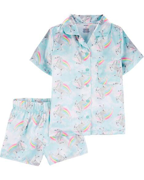 Pyjama 2 pièces en satin boutonné à l'avant avec motif arc-en-ciel