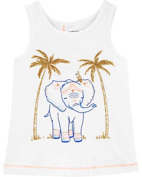 Débardeur à effet croisé avec éléphant scintillant