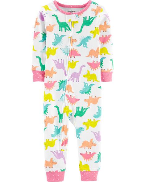 Pyjama 1 pièce sans pieds en coton ajusté avec dinosaure