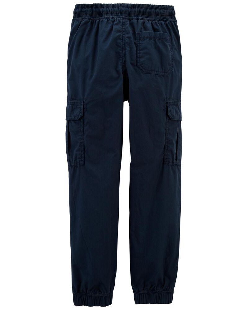 Jersey-Lined Poplin Joggers, , hi-res