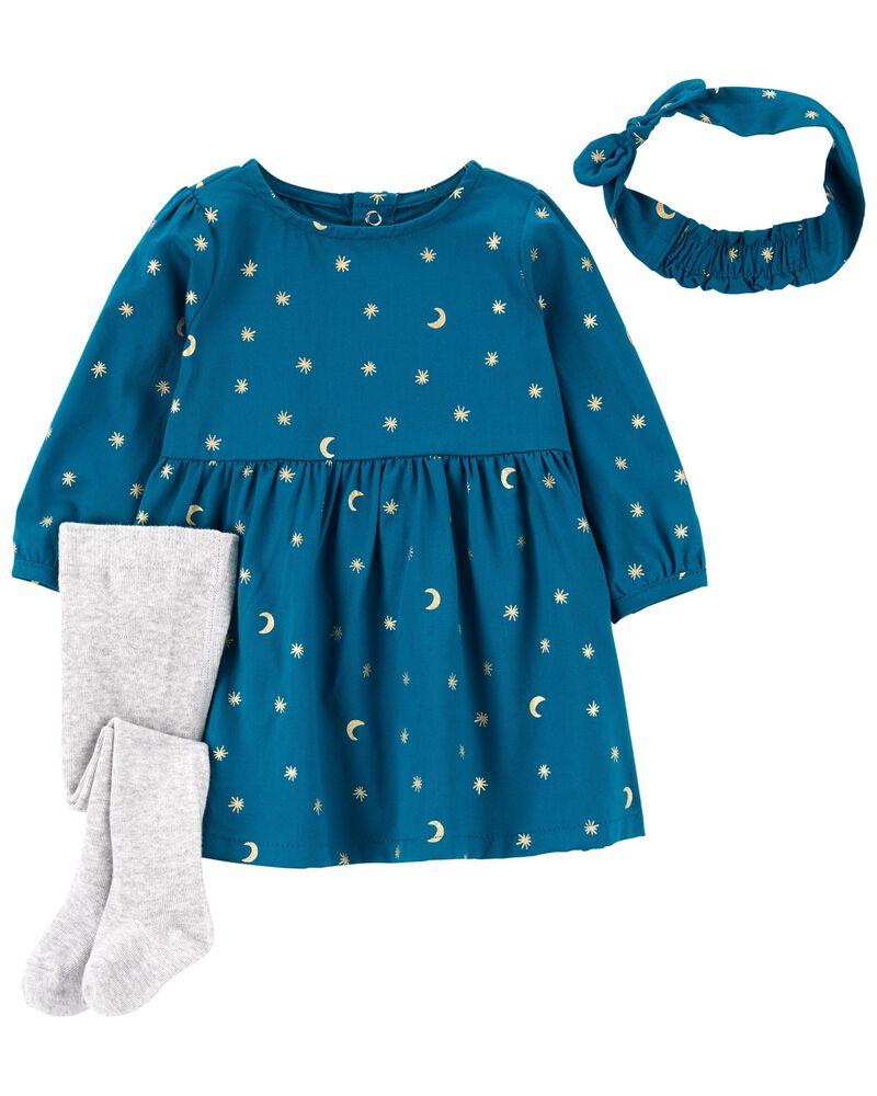 3-Piece Dress & Tights Set, , hi-res