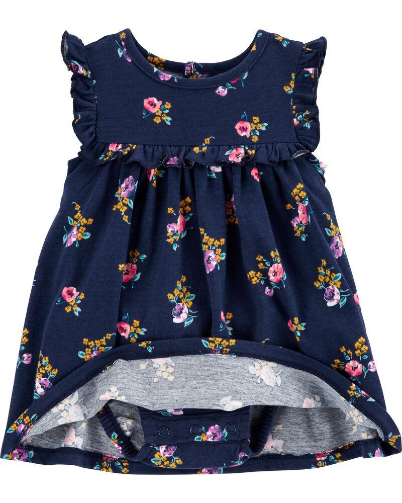 2-Piece Floral Bodysuit Dress & Cardigan Set, , hi-res