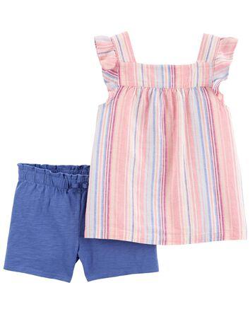 2-Piece Striped Tee & Short Set