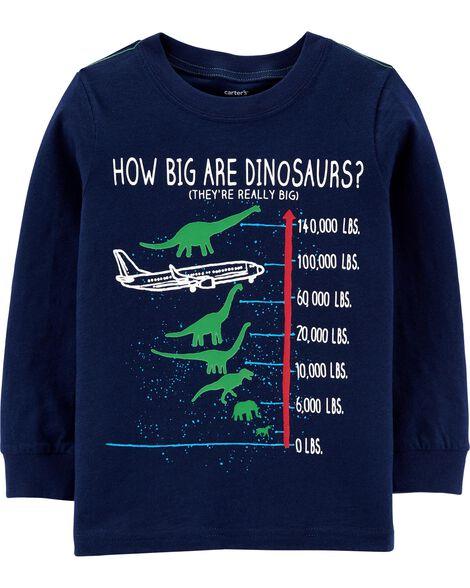 T-shirt en jersey flammé à avion et dinosaure qui brillent dans le noir