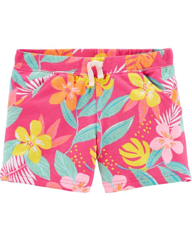 Short à enfiler en jersey bouclette à motif tropical, , hi-res