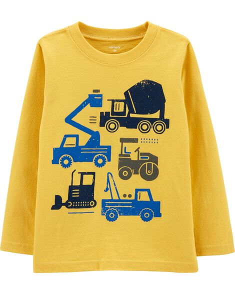 T-shirt en jersey flammé avec camion de construction