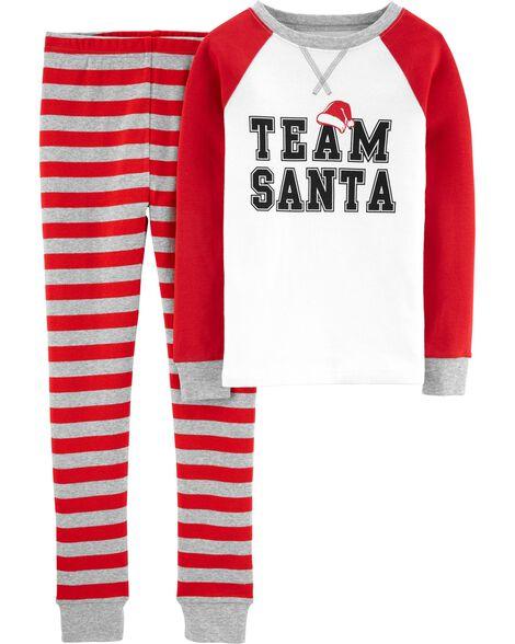 Pyjama 2 pièces en coton ajusté équipe du Père Noël