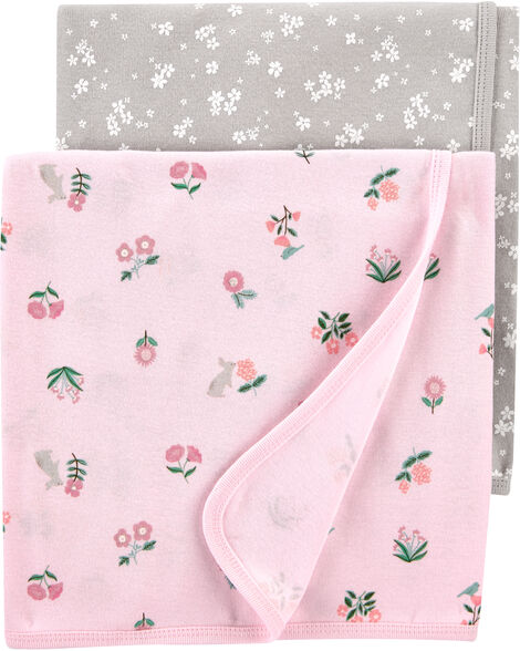 2-Pack Floral Baby Blankets