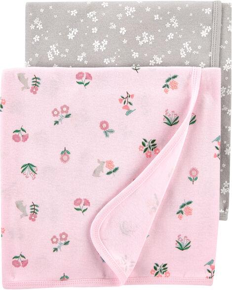 Emballage de 2 couvertures fleuries