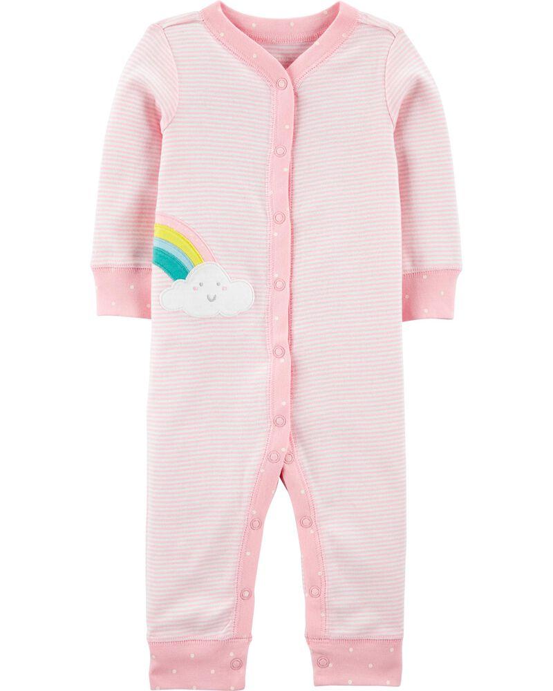 Rainbow Snap-Up Cotton Footless Sleep & Play, , hi-res
