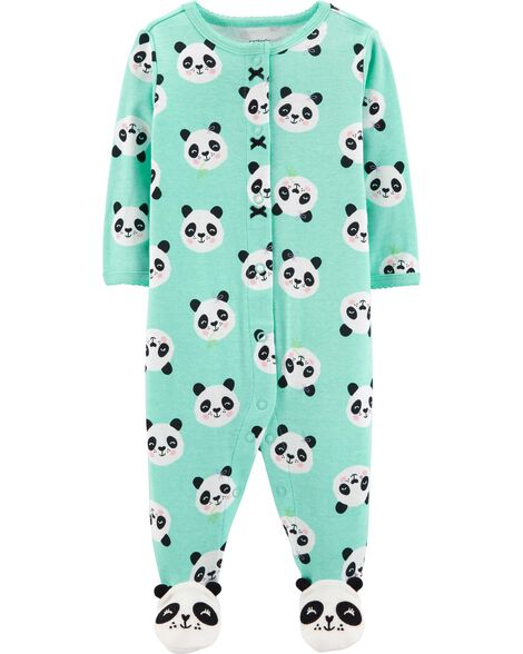Panda Button-Up Cotton Sleep & Play