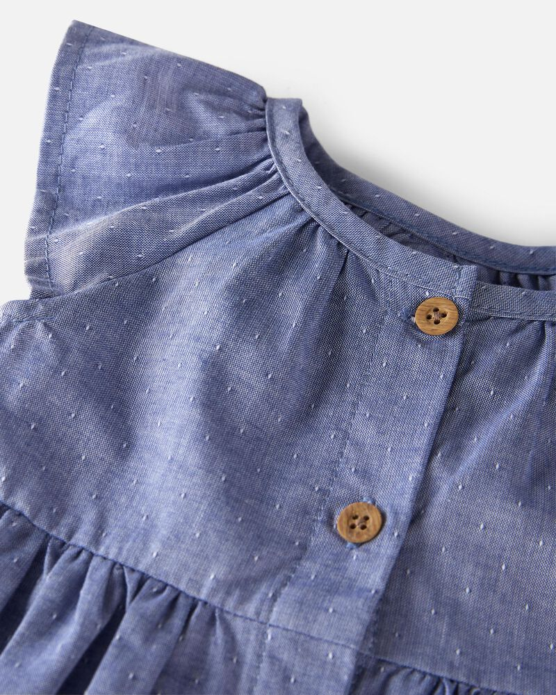 Organic Cotton Dobby Ruffle Dress, , hi-res