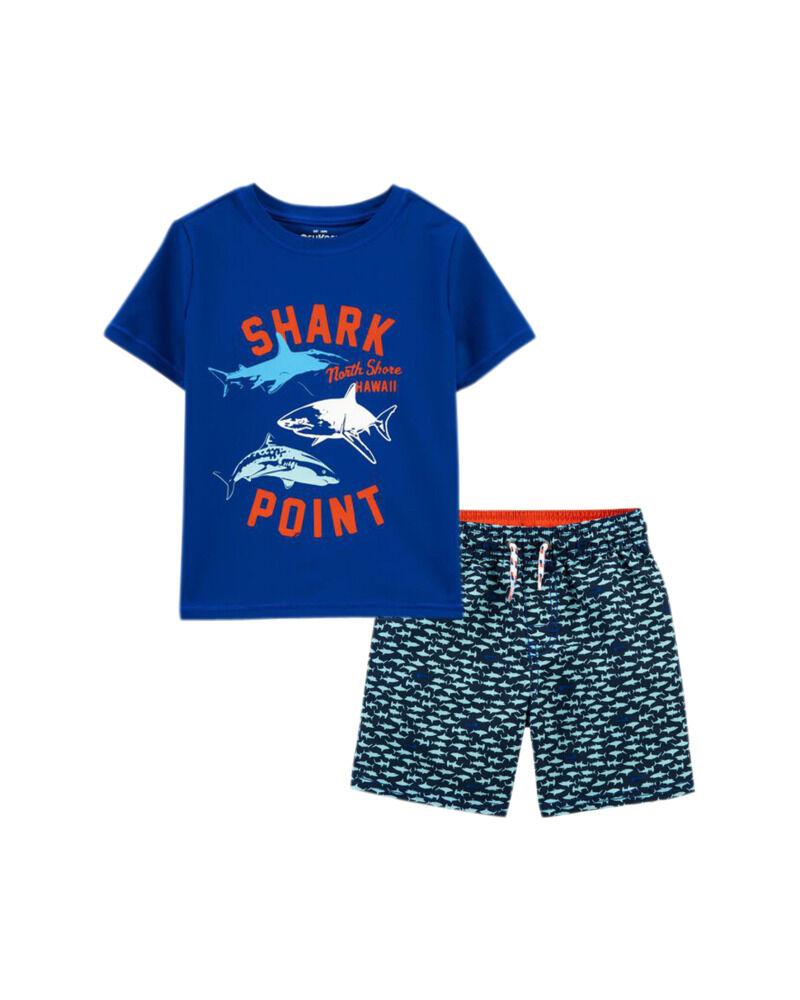 Shark Point Rashguard & Trunks Set, , hi-res
