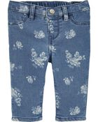Floral Knit Denim Jeans, , hi-res