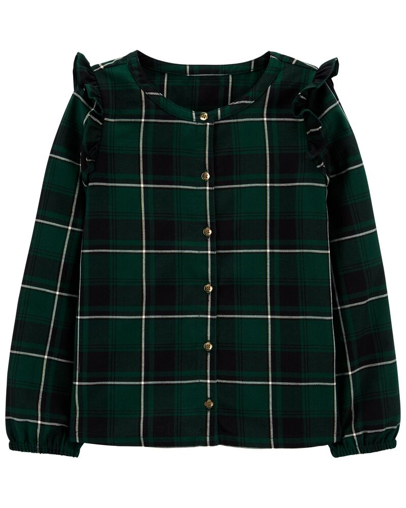 Plaid Woven Dobby Top, , hi-res