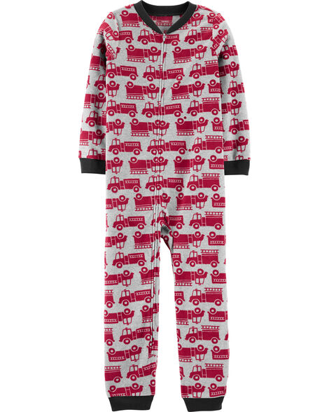 1-Piece Firetruck Fleece Footless PJs
