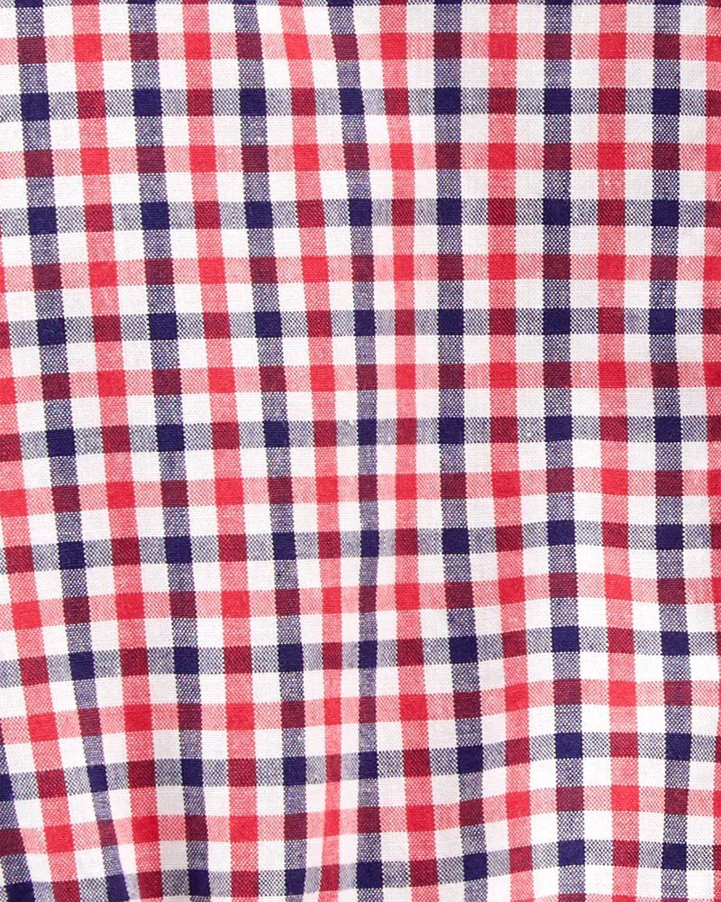 Plaid Poplin Button-Front Bodysuit, , hi-res