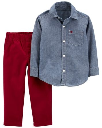 2-Piece Chambray Button-Front Top &...
