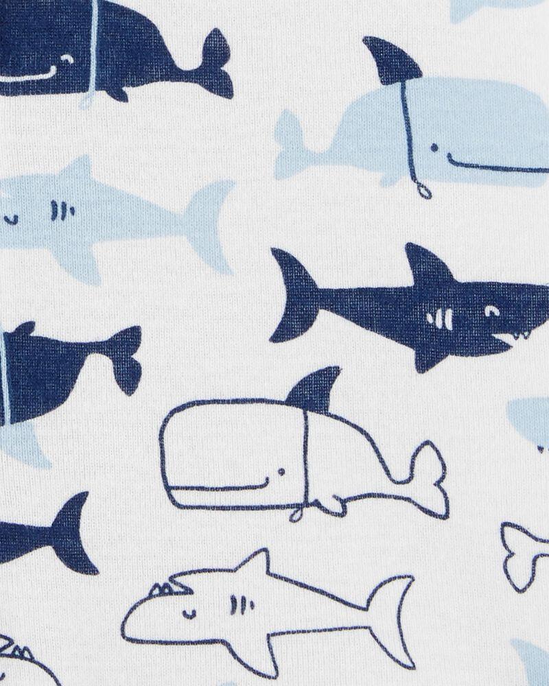 Sharks Snap-Up Cotton Romper, , hi-res