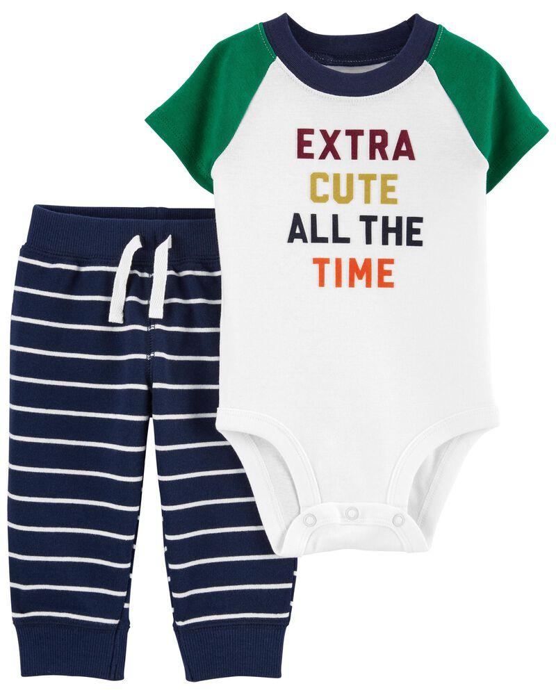 2-Piece Extra Cute Bodysuit Pant Set, , hi-res