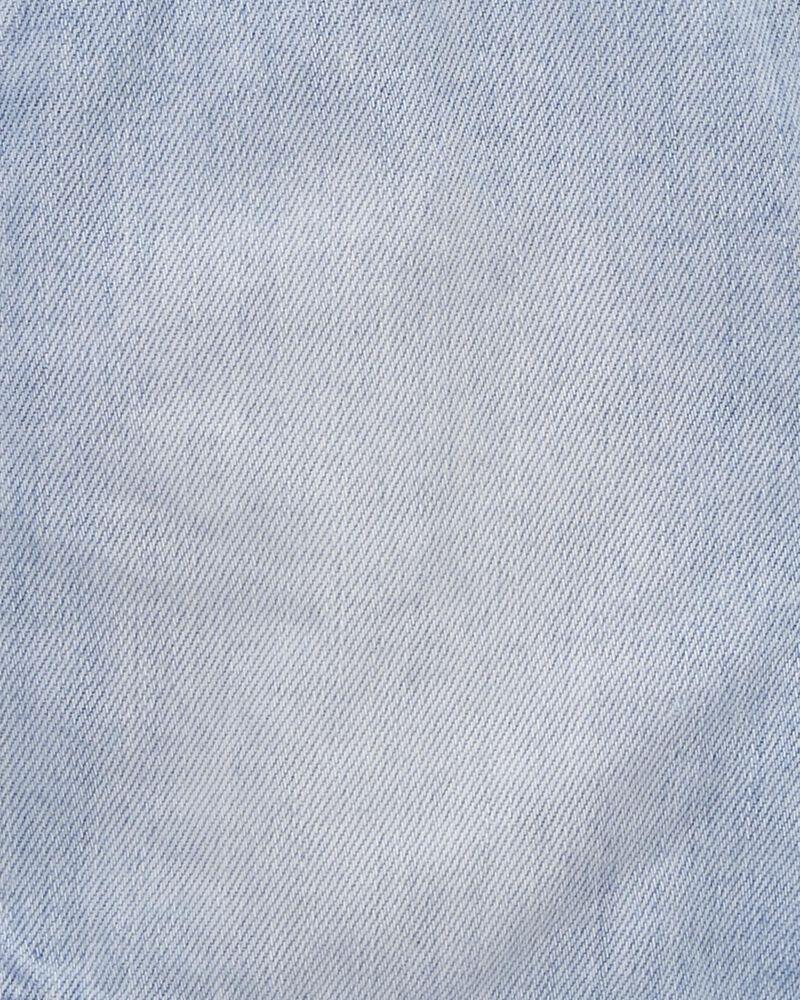 Salopette courte en denim avec œillets à délavage pastel, , hi-res