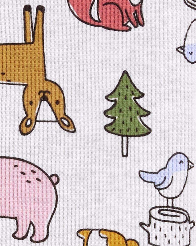 Pyjama 1 pièce à pieds en coton ajusté motif animaux, , hi-res