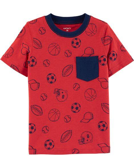 T-shirt en jersey flammé sports avec poche